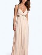 Sukienka maxi pudrowy roz