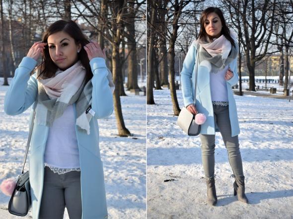 Blogerek Jasnoniebieski płaszcz baby blue