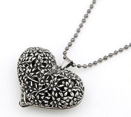 Naszyjniki Naszyjnik srebrne ażurowe serce z łańcuszkiem