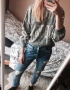 sweter oversize z usa napisy duży ciepły retro