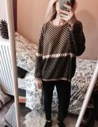 sweter vintage retro oversize wzorki