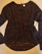 Sweterek srebrna nitka H&M asymetrycznyWyprzedaż