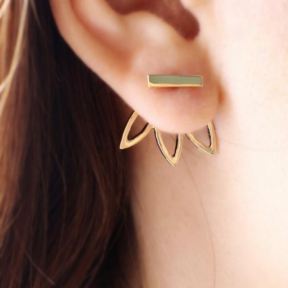 Kolczyki za ucho sztyft SKRZYDEŁKA złote