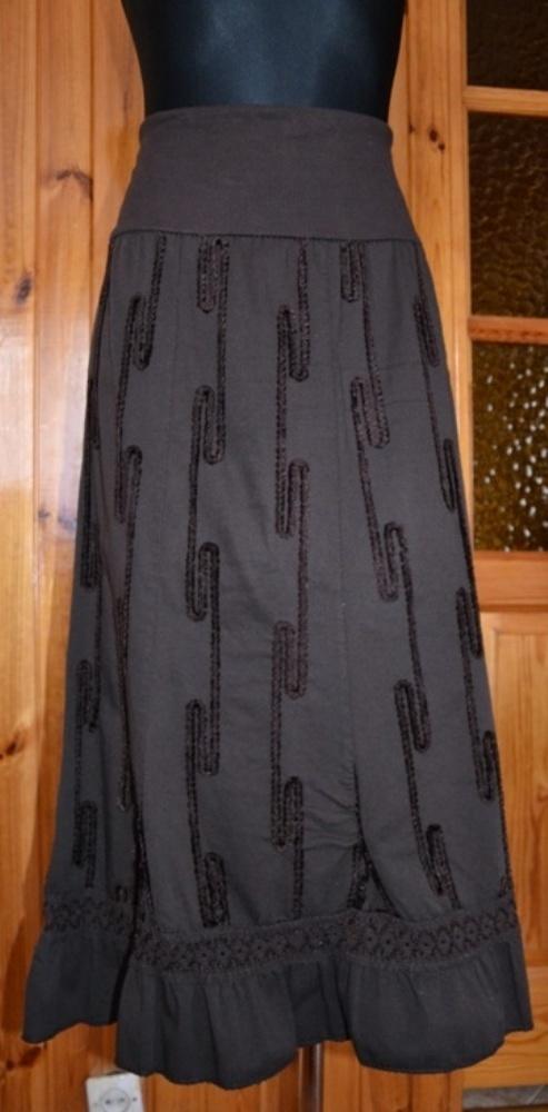 Spódnice Brązowa spódnica w strukturalne wzory