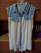 koszula z wstawkami jeansowymi