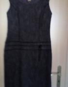 Fioletowo czarna sukienka w prążki