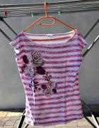 bluzka w paski paseczki kwiaty