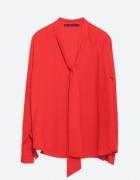 Czerwona wiązana koszula ZARA