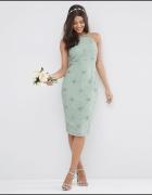 Asos midi sukienka pastelowa zdobiona mięta 38