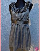 miso sukienka mini kwiaty mgiełka srebrne dodatki