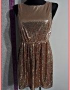 sukienka w cekiny złota mini nowa