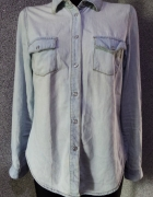 jeansowa dżins jeans jasna koszula 38 m