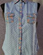 atmosphere koszula w grochy jeansowa dżins 36 s