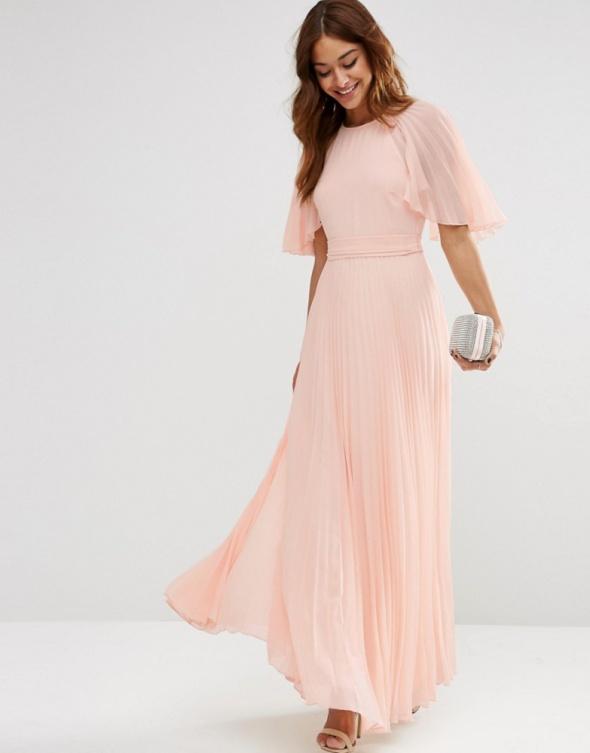 d8fa760584 Asos maxi pudrowa plisowana sukienka zwiewna w Suknie i sukienki ...