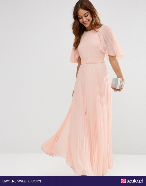 Asos maxi nude sukienka rybka koronka kokarda w Suknie i