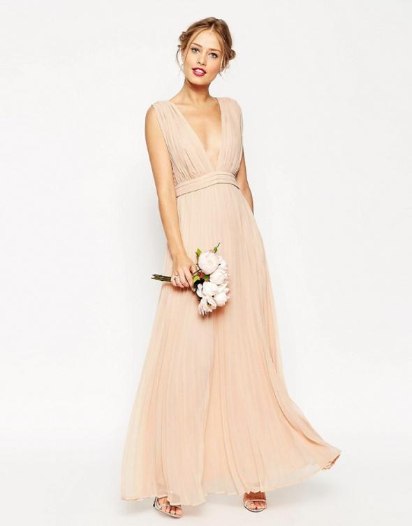 55ab29d0e8 Asos maxi pudrowa zwiewna plisowana sukienka w Suknie i sukienki ...