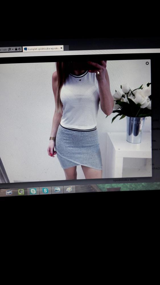 komplet blogerski szara spódniczka