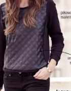 Czarna pikowana bluza skóra