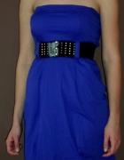 Sukienka granatowa z kieszeniami