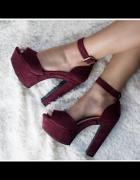 Sandałki platforma bordowe