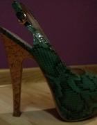 Zielone Szpilki Skóra Węża