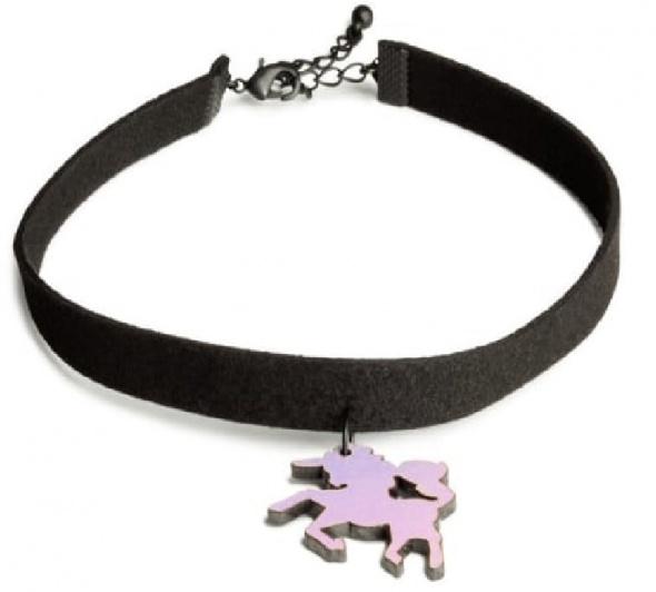 Dodatki Choker Czarny zawieszka Jednorożec Unicorn H&M