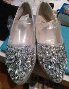 ozdobne balerinki buty ślubne