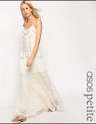 Asos maxi sukienka boho ivory hippie koronka