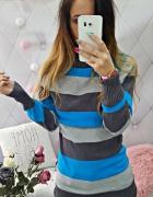 sweterek golf paski niebieski