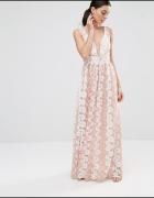 Asos maxi sukienka pudrowa daisy haftowane kwiaty