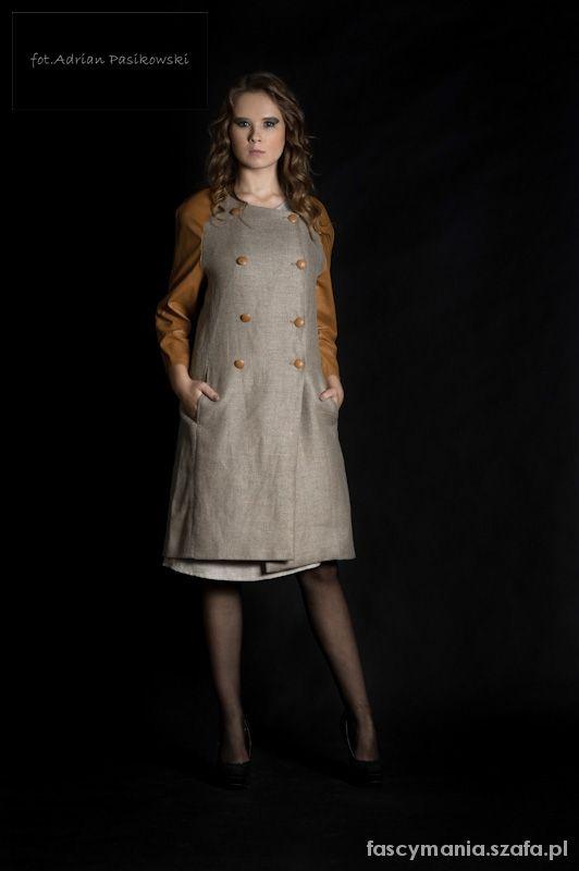 Odzież wierzchnia lniany płaszcz eko moda