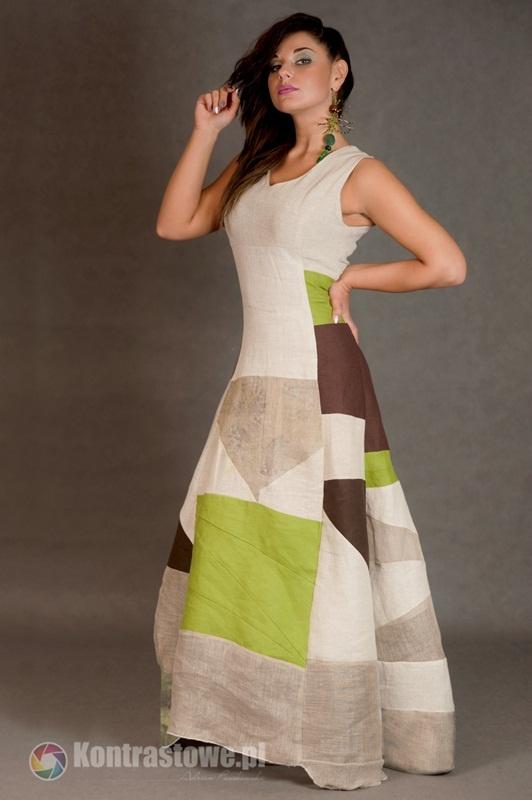 Suknie i sukienki lniana sukienka patchwork
