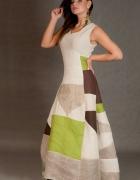 lniana sukienka patchwork