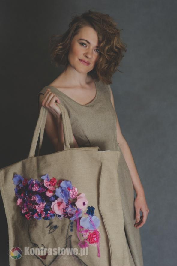 Torebki na co dzień haftowana lniana torebka mega duża