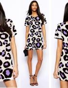 ASOS zack sukienka fioletowa panterka 44