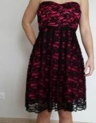 Sukienka koronkowa czarno rozowa