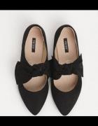 balerinki szpic z kokardą czarne