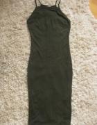 Obcisła sukienka khaki