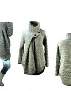 WełNiany płaszcz BOUCLE STUCK UP szary