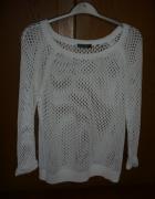biały ażurowy sweterek rozmiar M