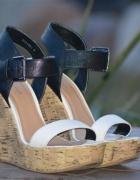 koturny New Look 38 czarno białe korek paski sanda