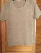 sweterek krótki rękaw beż