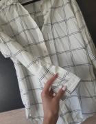 krata koszula czarna biała rozmiar S h&m