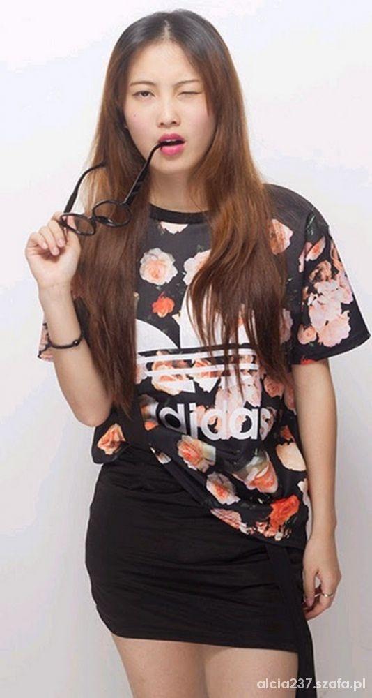 Adidas koszulka t shirt floral flower...