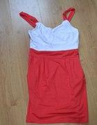 sukienka czerwono biała