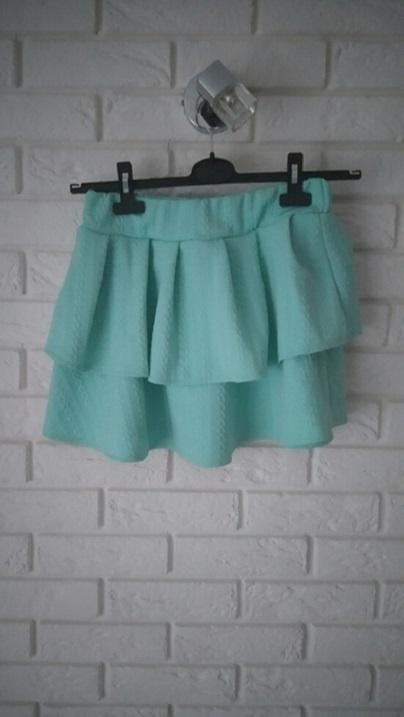 Spódnice miętowa pastelowa spódniczka falbany