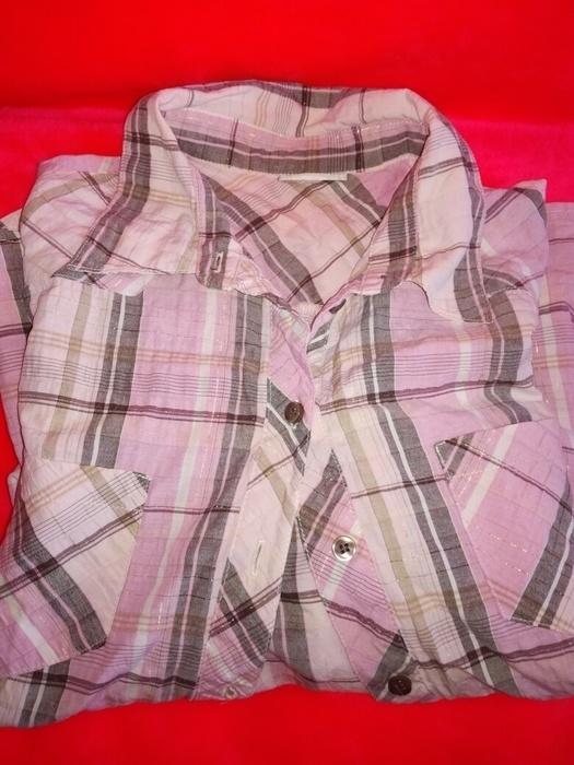Koszule Koszula CA w kratke ze zlota nitka 48 50