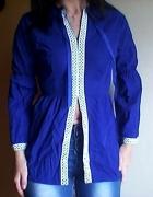 kobaltowa bluzka z biala wstawką L