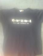 czarna bluzka z zabawnym nadrukiem M