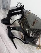 Czarne sandały szpilki skóra naturalna Nowe 37